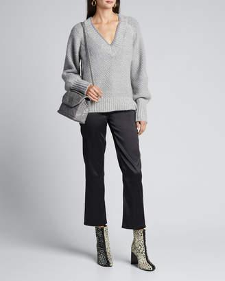 Veronica Beard Mirnie Metallic V-Neck Sweater