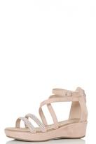 Quiz Pink Diamante Strap Low Heel Wedges