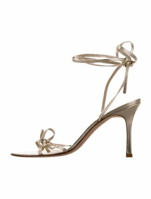 Manolo Blahnik Leather Bow Accents Sandals Gold