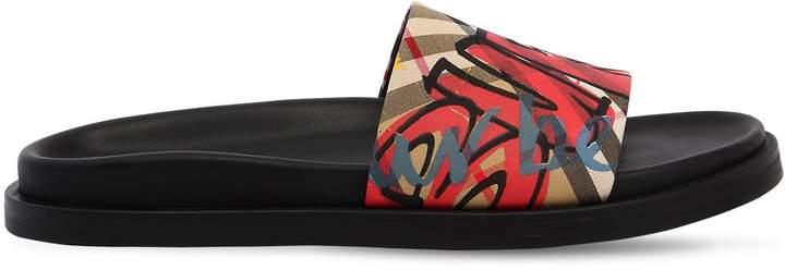 Burberry 20mm Printed Cotton Canvas Slide Sandals