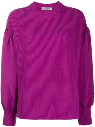 Valentino Puff-Sleeve Ribbed Jumper