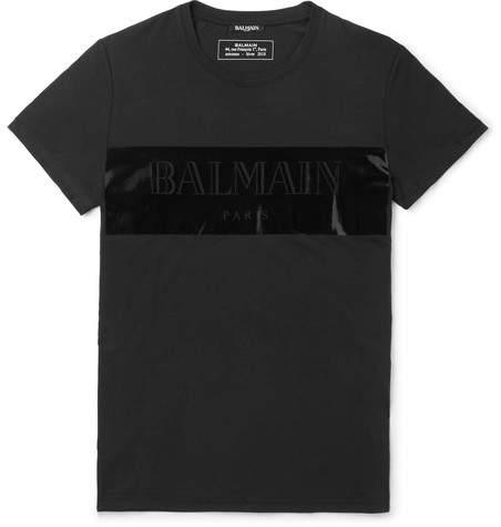 Balmain Logo-Detailed Vinyl-Trimmed Cotton-Jersey T-Shirt