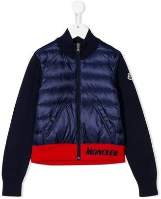 Moncler Enfant Contrast-Panel Down Jacket