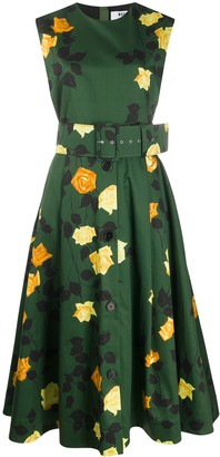 MSGM Floral-Print Belted Dress