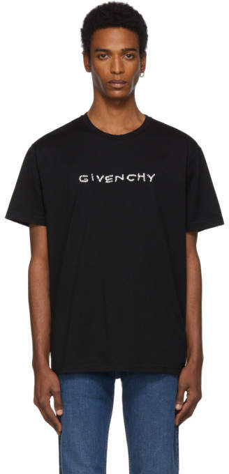 Givenchy Black Regular Fit Hand Embroidered T-Shirt