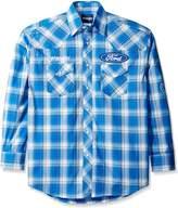 Wrangler Men's Logo Two Pocket Long Sleeve Woven Shirt, Blue/White, L