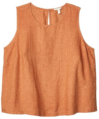 Eileen Fisher Plus Size Round Neck Shell (Cinnamon) Women's Clothing