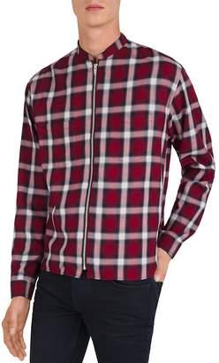The Kooples Plaid Slim Fit Zip-Front Shirt