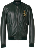 Dolce & Gabbana embroidered patch leather bomber jacket - men - Silk/Lamb Skin/Polyamide/glass - 46