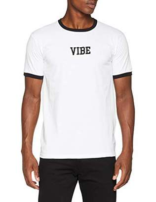 Vintage Supply Men's Vibe Embroidered T - Shirt, Multicolour Black/White, Large