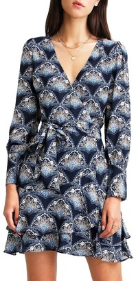 Belle & Bloom A Night With You Navy Mini Wrap Dress