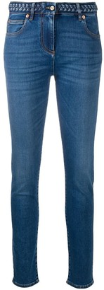 Valentino Braided-Waistband Skinny Jeans