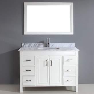"Carrera Alcott Hill Chesham 48"" Single Bathroom Vanity Set with Mirror Alcott Hill Base Finish: French Gray, Top Finish Marble"