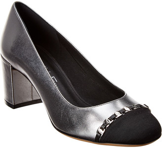 Salvatore Ferragamo Avella Vara Chain Metallic Leather Pump