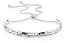 "Unwritten Fearless"" Silver Plated Adjustable Bolo Bracelet"