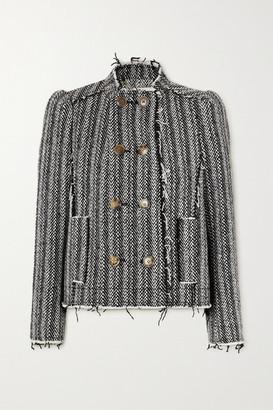 Tory Burch Sammy Double-breasted Frayed Herringbone Wool-blend Blazer - Black