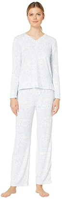 Carole Hochman Dreamy Sweater Knit Pajama Set (Blue Floral) Women's Pajama Sets