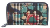 Burberry Women's 'Porter - Printed Horseferry' Floral & Check Zip Around Wallet - Blue