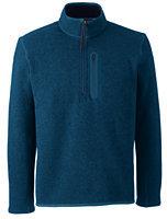 Classic Men's Sweater Fleece Half-zip Pullover-Dark Charcoal Herringbone