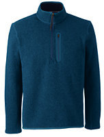 Lands' End Men's Tall Sweater Fleece Half-zip Pullover-Oatmeal Heather