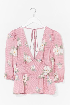 Nasty Gal Womens Work the Bloom Plunging Tie Back Blouse - Pink