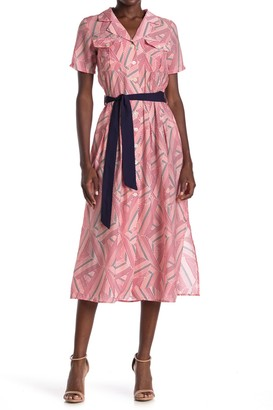 FRNCH Geometric Print Tie Waist Midi Dress