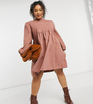 Lola May Curve smock dress in pink