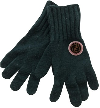 Fendi Green Cashmere Gloves