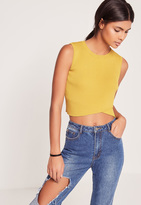 Missguided Wrap Front Sleeveless Crop Top Chartreuse Green