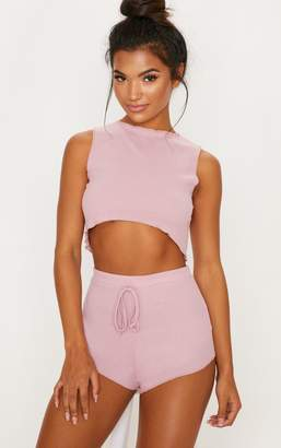 PrettyLittleThing Baby Pink Ribbed Frill Edge Short PJ Set