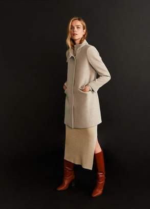 MANGO Wool funnel neck coat beige - XXS - Women