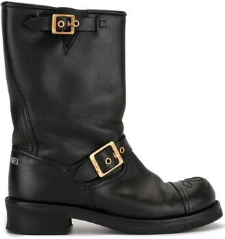 Chanel Pre Owned CC stitch buckled boots