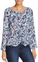 Cupcakes And Cashmere Lara Abstract Floral Twist Waist Blouse