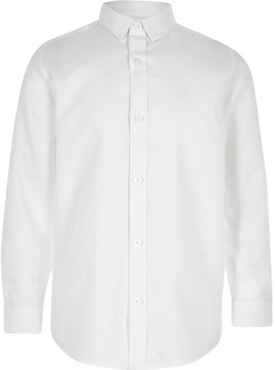River Island Boys white RI long sleeve shirt