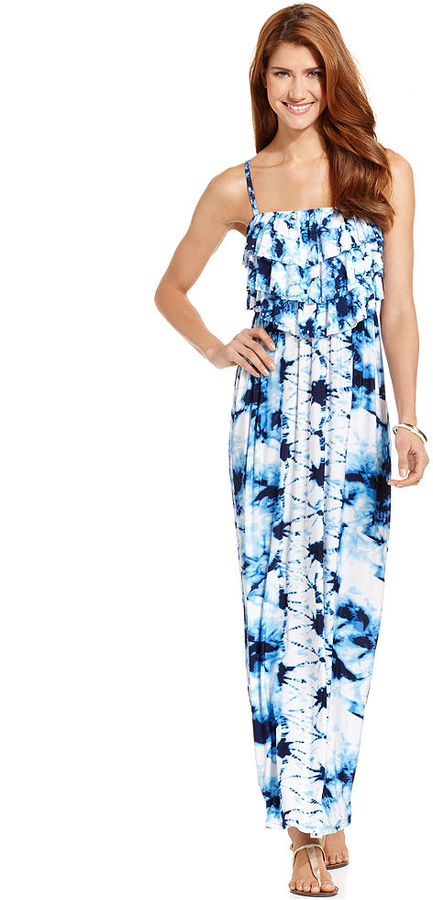 Style&Co. Floral-Print Tiered-Bodice Maxi Dress