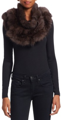 The Fur Salon Knitted Sable Fur Infinity Scarf