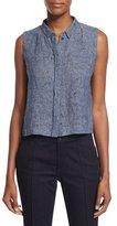 Elie Tahari Bardot Sleeveless Linen-Blend Etched Denim Blouse