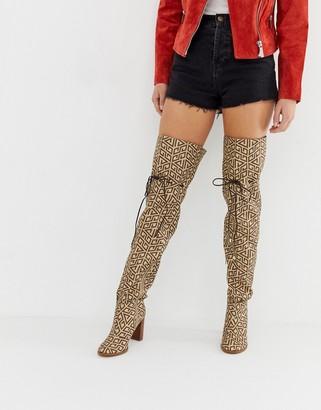 Asos Design DESIGN Kyla thigh high boots-Brown