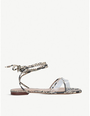 Aldo Candid lace-up snake-embossed faux-leather and perspex sandals