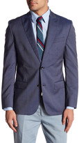 Bonobos Foundation Navy Micro-Striped Two Button Peak Lapel Wool Slim Fit Jacket