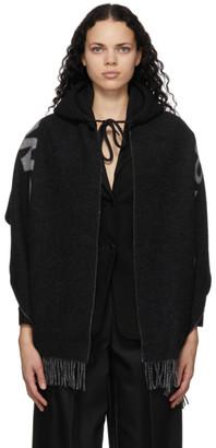 alexanderwang.t Black and Grey Wool Hooded Logo Scarf