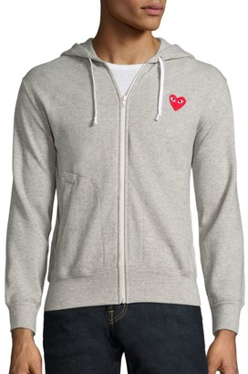 Comme des Garcons Heathered Signature Logo Patch Jersey Hoodie