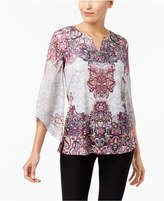 JM Collection Petite Printed Angel-Sleeve Tunic, Created for Macy's