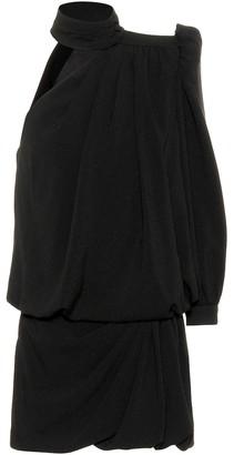Saint Laurent One-shoulder crepe minidress