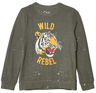 Chaser Wild Rebel Cozy Knit Crew Neck Pullover Sweater (Little Kids/Big Kids) (Safari) Boy's Clothing