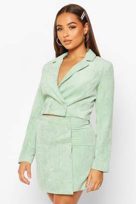 boohoo Cord Cropped Button Front Blazer