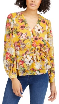INC International Concepts Inc Petite Floral-Print Wrap Top, Created for Macy's