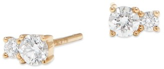 Lana 14K Gold & Diamond Double Solo Stud Earrings