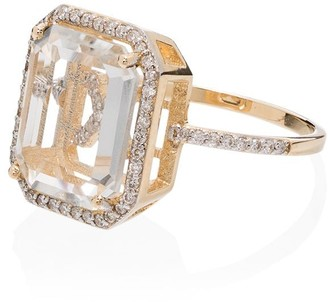 Mateo 18K yellow gold frame initial diamond ring
