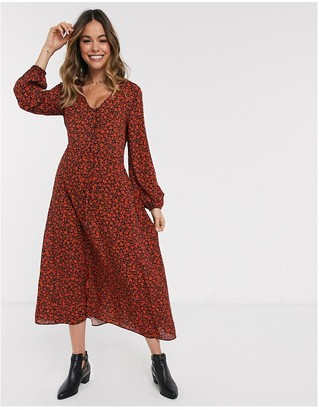 New Look floral drawstring midi dress in red pattern